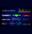 set sound wave frequency or audio voice vector image vector image