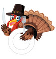 thanksgiving turkey with fork and knife vector image vector image