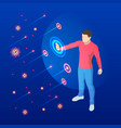 the virus attacks respiratory tract pandemic vector image vector image