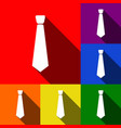 tie sign set of icons with vector image