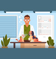 vet examine cartoon veterinary doctor in clinic vector image vector image