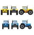 Yellow and blue tractors with big wheels vector image