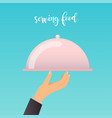 human hand with a food serving tray flat design vector image