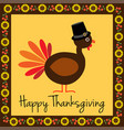 happy thanksgiving turkey with sunflower border vector image