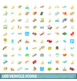 100 vehicle icons set cartoon style vector image vector image