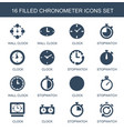 16 chronometer icons vector image vector image