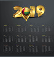 2019 calendar template guinea bissau country map vector image vector image