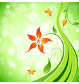 Abstract Flower Background with Butterflies vector image vector image