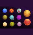 alien planets cartoon set space game interface vector image