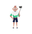 bearded old man doing selfie in shorts vector image vector image