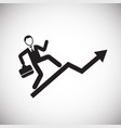 businessman conquers the top on white background vector image