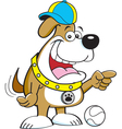 Cartoon dog wearing a baseball cap vector image vector image