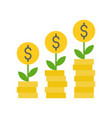 coin tree and stack of coins investment and vector image