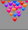 colorful hearts on a transparent background vector image vector image