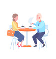 couple man woman sitting cafe table businesspeople vector image vector image
