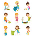 cute kids gardening and picking up garbage set vector image vector image