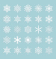 cute snowflakes collection isolated on blue vector image vector image
