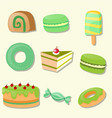 different types of desserts vector image