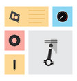 flat icon component set of gasket wheel vector image vector image