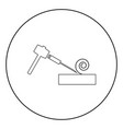 hammer and wood carpentry icon black color in vector image vector image