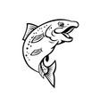 happy rainbow trout or salmon fish jumping up vector image