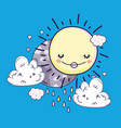 happy sun and moon with sad clouds vector image vector image