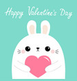 happy valentines day white rabbit hare puppy head vector image vector image