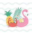 hello summer poster with flemish float icons vector image vector image