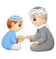 kid learning read quran to his father isolated on vector image vector image