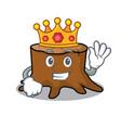 king tree stump mascot cartoon vector image vector image