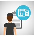 man delivery checking cardboard box security vector image