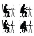 man silhouette sitting with laptop vector image vector image
