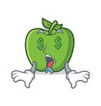 money eye green apple character cartoon vector image vector image