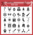 new year glyph icon set christmas symbols vector image