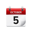 October 5 flat daily calendar icon Date vector image vector image