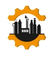 oil refinery with gear icon vector image vector image