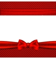 Red bow on knitted background vector image