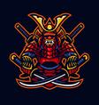 samurai warrior e-sport mascot style vector image vector image