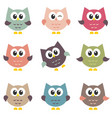 set of cute owls isolated on white background vector image vector image