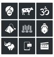 Set of India Icons Hindu Sacred Animal vector image vector image