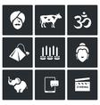 Set of India Icons Hindu Sacred Animal vector image
