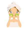 skin care girl having spa facial mask cucumber vector image