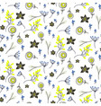 small flowers and branches seamless pattern vector image vector image