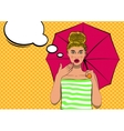 Surprised pop art pretty woman with an umbrella vector image