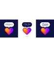 three lovely card valentine rainbow heart like vector image vector image