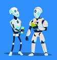two robots drinking cocktails and talking vector image vector image