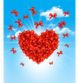 valentines heart made red bows vector image