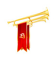 vintage trumpets or bugles with flags - fanfare vector image vector image