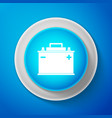 white car battery icon isolated on blue background vector image vector image
