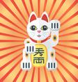 flat style maneki cat icon on radiant background vector image